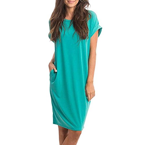 Abkola Dress Women's Tshirt Dress with Pockets O-Neck Casual Sexy Plain Solid Tunic T-Shirt Dress (XXL, Mint Green) by Ankola-Women Dress