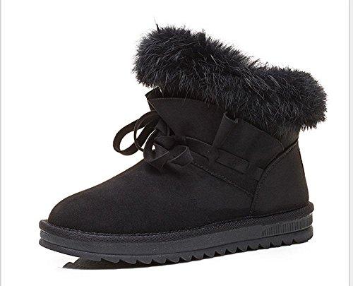 KESI Botas de mujer, zapatos de mujer, botas de nieve, zapatos cálidos de algodón, tubo corto, además de cachemira 321 black