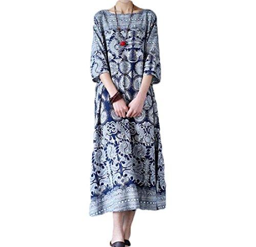 donne In Oscillazione Vestito Cinese Lino Di Cotone Floreale Stampa 17 Coolred Morbido Stile R8Hnddq