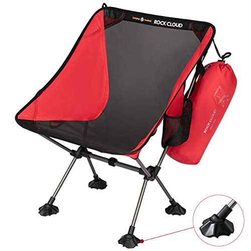 Rock Cloud Portable Camping Chair Ultralight Folding Chairs Outdoor with Oversize Mesh and Legs Stabilizers for Camp Hiking Backpacking Lawn Beach Sports, Red