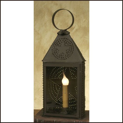 (Colonial Tin Works Half-Round Lantern with Punched Design)