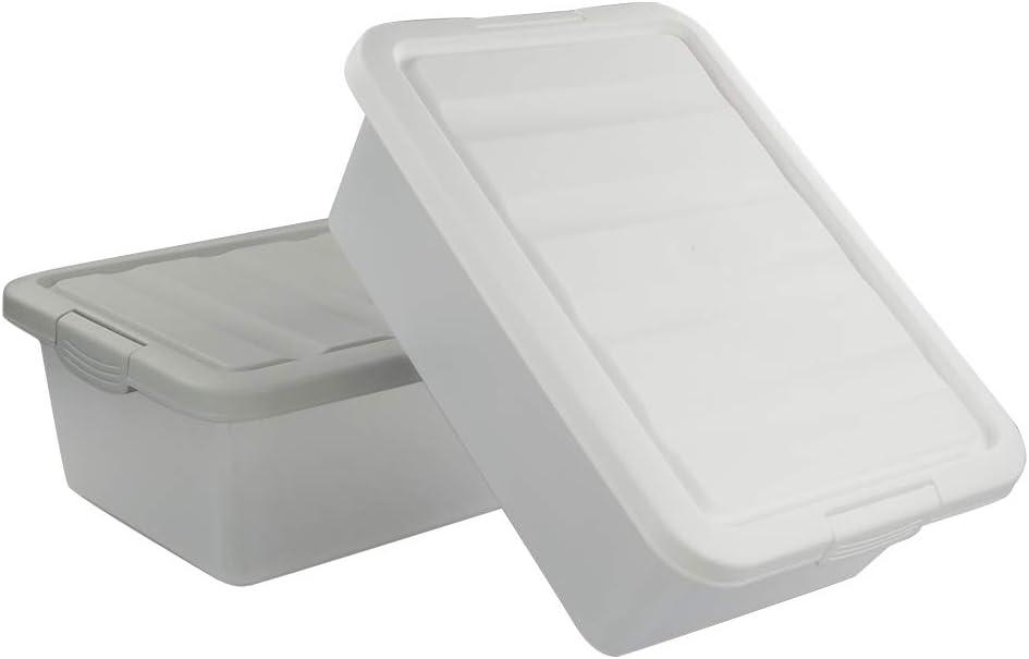 Confezione da 2 Grigio e Bianco Sandmovie 15 Litri Scatola Box Plastica con Coperchio