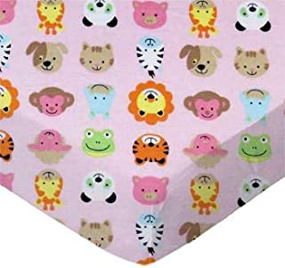 product image for SheetWorld 100% Cotton Flannel Fitted Crib Toddler Sheet 28 x 52, Animal Faces Pink, Made in USA