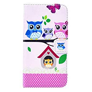 LHY The Owl Family Cartoon PU Leather Full Body Case with Card Slot for Samsung Galaxy S5 Mini