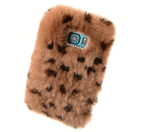 Fusicase fashion style New Rex Rabbit Fur Hair Sleeve Plush Fitted Back case Cover for Samsung Galaxy Note 5(Leopard Brown) - Flower Power Fashion Belt
