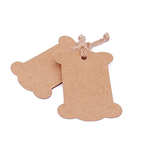 74f0689e72b1 jijAcraft 100 PCS Brown Bone Shape Kraft Paper Gift Tags, Kraft Hang  Luggage Tags Wedding Favor Tags with 100 Feet Jute Twine