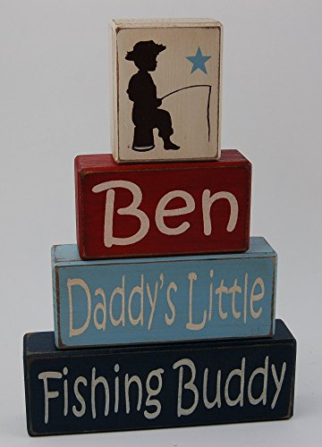 Personalized Name Daddy's Little Fishing Buddy- Primitive Country Wood Stacking Sign Blocks- Boys Room Fishing Theme- Fishing Baby Shower-Fishing Nursery Home (Baby Shower Fishing Theme)