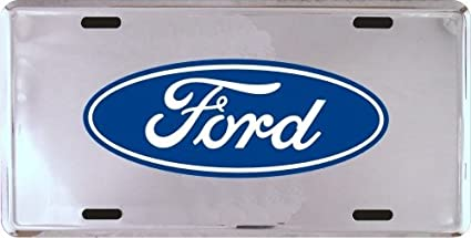 2 Ford Logo Chrome Diamond License Plate Tag Frames for Car-Truck Front OR Back