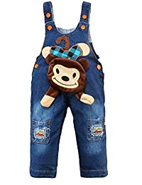 Kidscool Baby Cotton Denim Cute 3D Monkey Pocket Soft to Wear Overalls