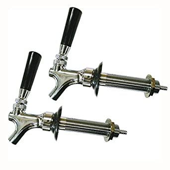 "HomeBrewStuff Chrome Draft Beer Faucet and 4 1/2"" Shank Combo - Set of 2"