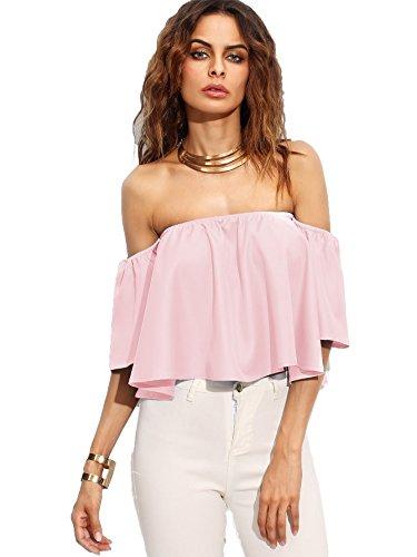 SheIn Women's Boho Ruffle Off Shoulder Bell Sleeve Crop Top Blouse X-Large Pink (Sleeve Ruffled Top)