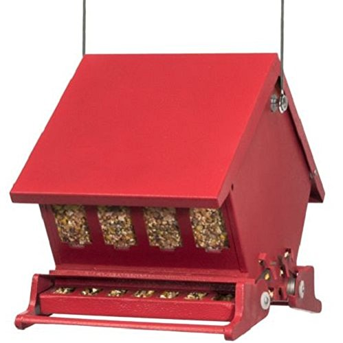 YNshop Heritage Farms Bird Feeder Squirrel Wild Proof Hanging Seed Garden Home , Red