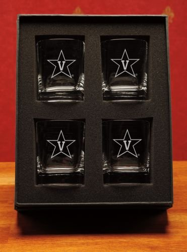 NCAA - Vanderbilt Commodores 14 oz Deep Etched Double Old Fashion Glasses Gift Set of 4 by CC Glass