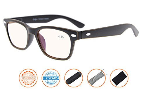 UV Protection,Anti Blue Rays,Reduce Eyestrain,Computer Reading Glasses Men Women(Black Orange,Amber Tinted Lenses) - Classes Prescription