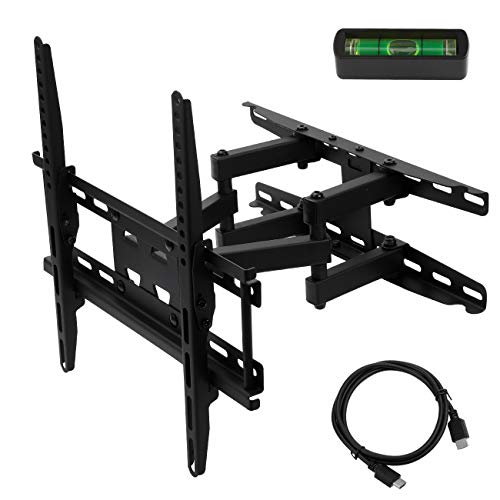 TV Wall Mount Bracket with Full Motion Swivel Articulating Dual Arms for most 23 32 37 42 47 50 55 Inch LED, LCD, OLED and Plasma Flat Screen TV, up to VESA 400x400mm and 115 LBS HDMI Cable