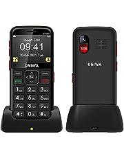 Mobiltelefoner med stor knapp för äldre, UNIWA V1000 olåst mobiltelefon med 6,31 tum stor skärm, 64 MB+128 MB, SOS, kamera, 1700 mAh, laddningsdocka, lätt att använda (svart)