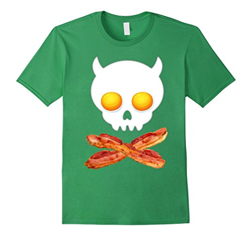 Bacon And Egg Costume Accessories (Mens Breakfast Skull Shirt Egg and Bacon Skull Crossbones Tshirt Small Grass)