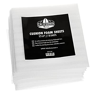 """California Basics 12"""" x 12"""" Cushion Foam Sheets (50 Count), Packing Supplies for Moving, Safely Wrap Dishes, Glasses & Furniture Legs"""