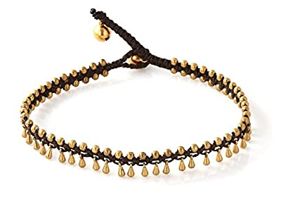 MGD, Golden Gold Tone Tear Drop Bead and Brass Bell Anklet. Beautiful Handmade Brass Anklet. Small Anklets. Ankle Bracelet. Fashion Jewelry for Women, Teens and Girls, JB-0257A