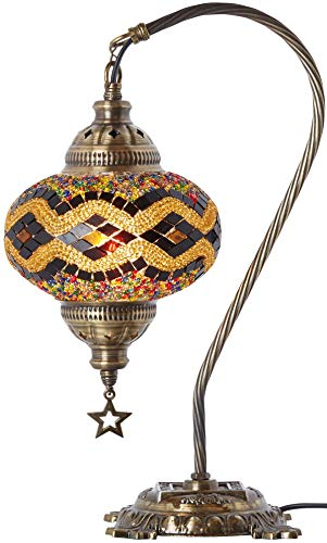 - (33 Colors) DEMMEX 2019 Turkish Moroccan Mosaic Table Lamp with US Plug & Socket, Swan Neck Handmade Desk Bedside Table Night Lamp Decorative Tiffany Lamp Light, Antique Color Body (14)