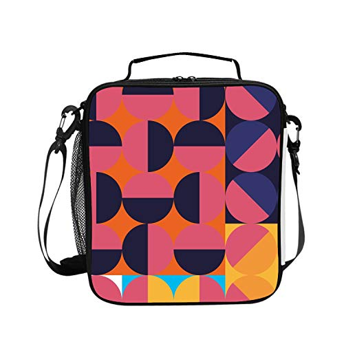 Insulated Lunch Boxes (Geometric Design Series Poster) with Shoulder Strap and Extra Storage Pocket Best Lunch Box for Portion Control Diet