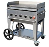 Crown Verity CV-MG-36-NG 44'' Wide Natural Gas Mobile Griddle with 79 500 BTU/H 5 Burners 34'' Cooking Surface Pro Griddle Plate Splash Guard and Removable Grease Tray in Stainless