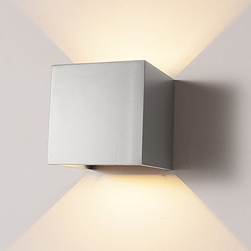 LED Aluminum Waterproof Wall Lamp,12W 85-225V 3200K Adjustable Outdoor Wall Light Warm Light 2 LEDS (Gray)