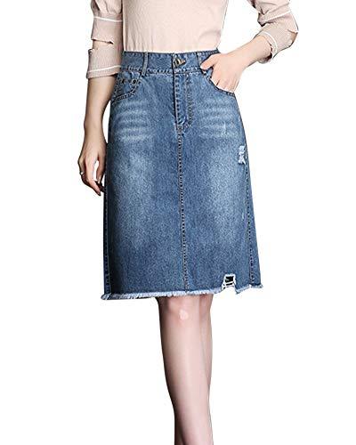 Jupe De Dames Taille Haute Slim lgant Et Confortable Jupe en Jean A-Line Jupe Bleu