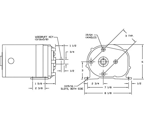 Dayton 1LPP7 AC Gearmotor 115 Nameplate RPM 6 Max. Torque 600.0 in.-lb. Enclosure ODP