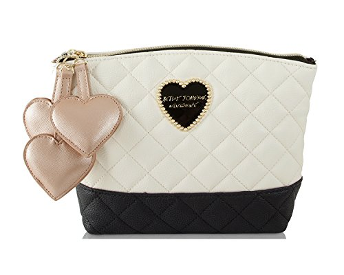 Betsey Johnson Womens Bag - Betsey Johnson Triple Heart T-Bottom Clam Travel Toiletry Cosmetic Case Pouch (Cream/Black Quilted)