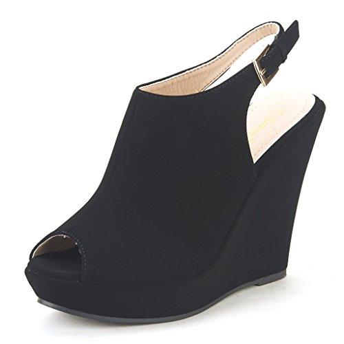 DREAM PAIRS SANTANA Women's Back Cutout Design With Buckle Strap Closure Peep Toe High Platform Summer Sandals BLACK SZ 5.5
