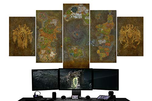 Game Wall Art – World of Warcraft, Azeroth Map, Horde, Alliance, Multi Panel Art, 5 Piece Canvas Wall Art, Gaming Canvas, Wall Decor, Framed Ready to Hang