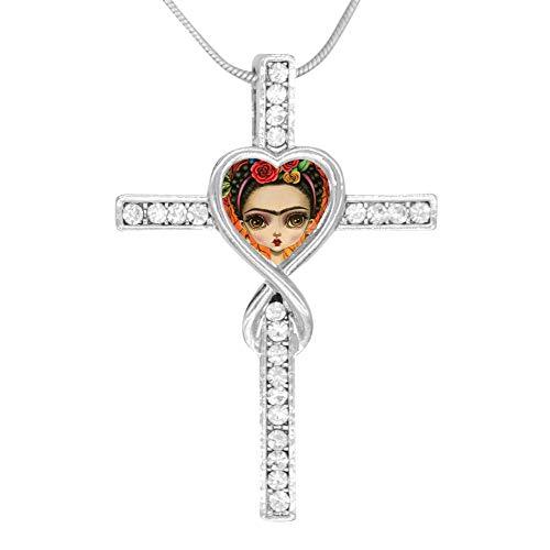 (LGDSROJMXL Frida Kahlo Cross Pendant Necklace Jesus Lovers for Women Girl Dainty Crystal Everyday Jewelry)