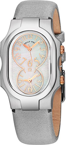 Philip Stein Signature Womens Stainless Steel Dual Time Zone Watch - Mother of Pearl Face Natural Frequency Technology Ladies Watch - Silver Metallic Leather Band Analog Quartz Watches for Women