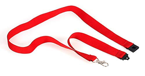 OPUS 2 20mm Textile Lanyard with Neck Strap and Metal Clip for ID Badge Holder, 10 Pack, 121275, Red. (Opus Strap)
