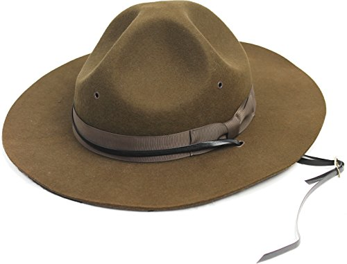 Drill Sergeant Hat Army Instructor Campaign State Trooper Mountie Park Ranger Official Brown Felt (Size 7 (Drill Sergeant Costumes)