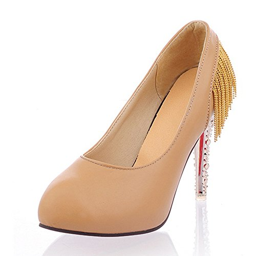 Heel Stiletto Pointed Womens Heel Toe Fashion Pumps Yellow Tassel 4OfXFvv