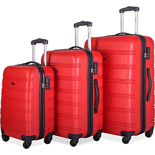 (Merax Mellowdy 3 Piece Set Spinner Luggage Expandable Travel Suitcase 20 24 28 inch (red))