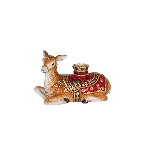 Fitz and Floyd 49-662 Renaissance Holiday Deer Candleholder Resting ()