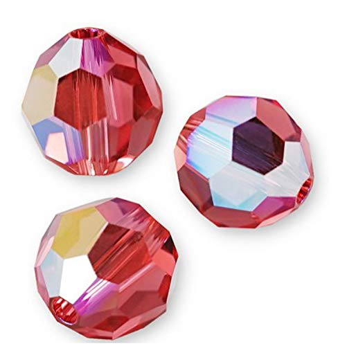 24pcs Authentic 4mm Swarovski Crystals 5000 Round Crystal Beads for Jewelry Craft Making (Padparadscha AB) SWA-2R430AB