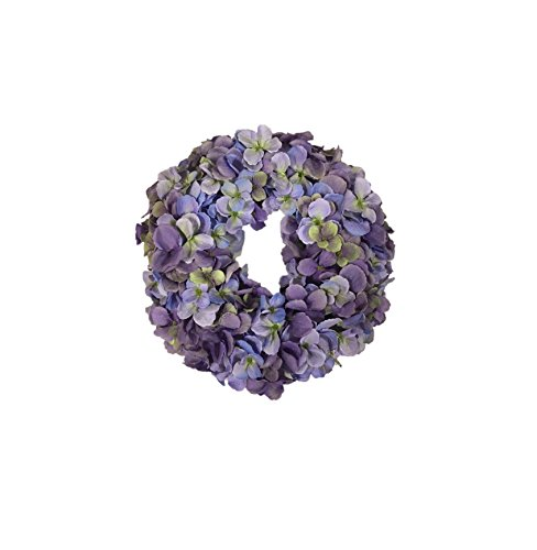 - Cape Cod Blues Hydrangea Candle Ring Spring Centerpiece for Everyday Table Top Decorating Shades of Blue and Purples Small Wreath 12 Inch