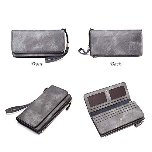 Long Ladies Card Purse Vintage Gray JOSEKO Purse Hasp Cowhide Bags Holder 16 Holder Card Clutches YqrTYv