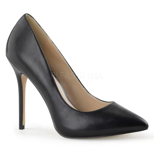 - Pleaser Women's Amu20/Bpu dress Pump, Black Faux Leather, 13 M US