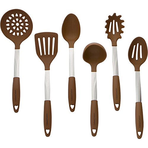 Brown Kitchen Utensil Set - Stainless Steel & Silicone Heat