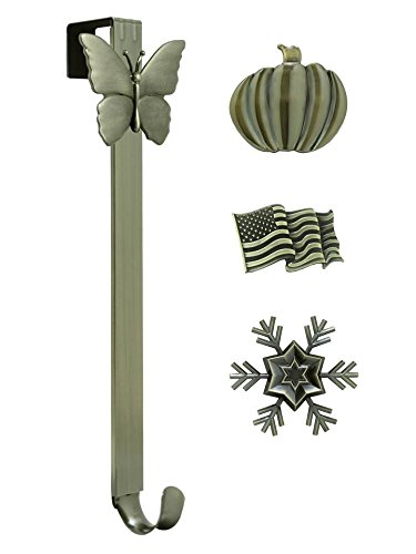 Adjustable Length Wreath Hanger with Interchangeable Icons (4 WREATH HANGERS IN 1) (Antique Brass-Flag/Snowflake/Butterfly/Pumpkin) by Haute Decor