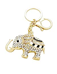 Rosemarie Collections Women's Key Chain Pave Crystal Gold Tone Lucky Elephant