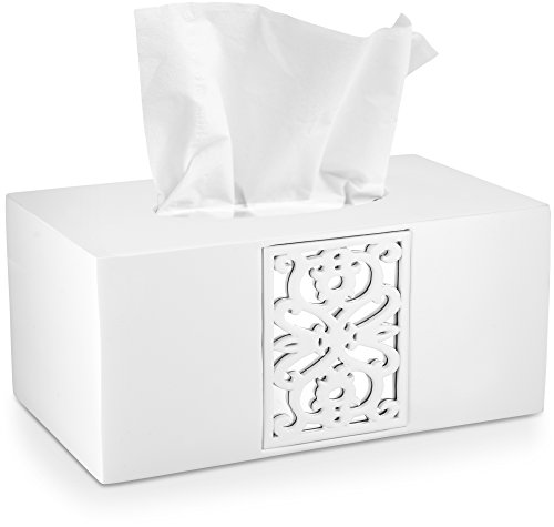 (DWELLZA Decorative White Tissue Box Cover Rectangular (10.25