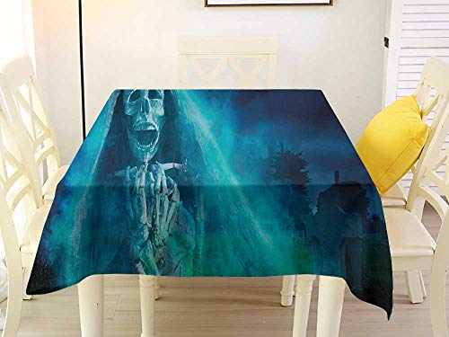 L'sWOW Square Tablecloth Halloween Gothic Dark Backdrop with a Dead Ghost Skull Mystical Haunted Horror Themed Digital Art Blue Fitted 36 x 36 -
