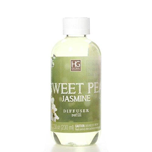 Hosley Premium Sweet Pea Jasmine Reed Diffuser Refills Oil, 230 ml (7.75 fl oz) Made in USA. Bulk Buy. Ideal Gift for Weddings, spa, Reiki, Meditation Settings W1