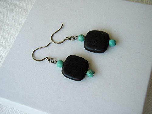 Blackstone Imitation Turquoise Square Earrings Geometric Stone Beaded Minimalist Jewelry